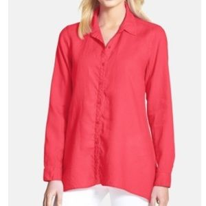 Eileen Fisher Organic Linen Shirt Strawberry Large
